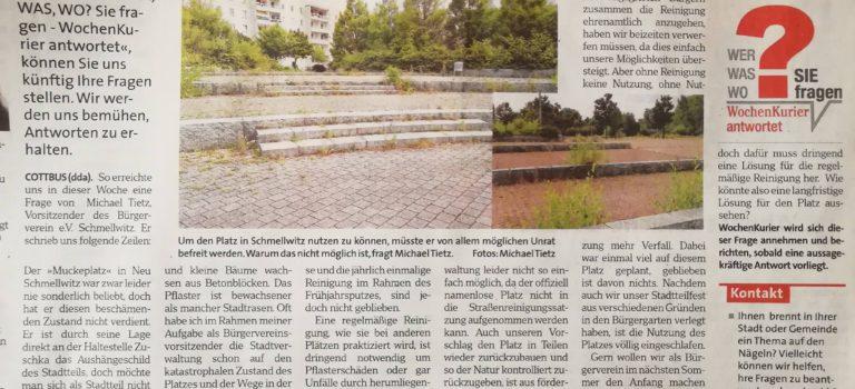 """""""Wie weiter mit dem Muckeplatz"""" – Wochenkurier berichtet"""
